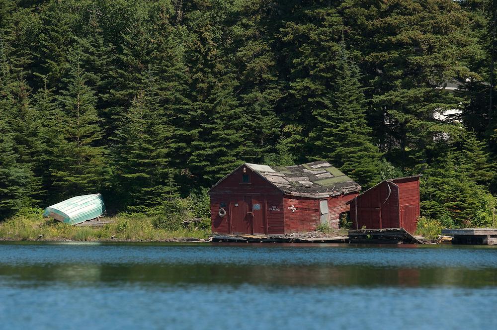 An old boathouse at Tobin Harbor at Isle Royale National Park.