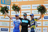 Sykkel<br /> 21.08.2011<br /> Foto: Witters/Digitalsport<br /> NORWAY ONLY<br /> <br /> v.l. Gerald Ciolek (Deutschland, Quick Step, 2. Platz), Sieger Edvald Boasson Hagen (Norwegen, Sky), Borut Bozic (Slowenien, Vacansoleil-DCM, 3. Platz)<br /> Radsport, Vattenfall Cyclassics 2011 in Hamburg, Elite
