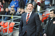 Cardiff manager Malky Mackay in a buoyant mood before the match against Southampton in the Barclays Premier league, Cardiff city v Southampton at the Cardiff city Stadium in Cardiff,  South Wales on Boxing day, Thursday 26th Dec 2013. <br /> pic by Jeff Thomas, Andrew Orchard sports photography.