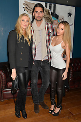 Left to right, STEPHANIE SPRATT, HUGO TAYLOR and NATALIE JOEL at the opening party of MODE nightclub, 12 Acklam Road, London on 4th April 2014.