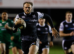 Cory Allen of Ospreys breaks to set up his sides fourth try <br /> <br /> Photographer Simon King/Replay Images<br /> <br /> Guinness PRO14 Round 7 - Ospreys v Connacht - Friday 26th October 2018 - The Brewery Field - Bridgend<br /> <br /> World Copyright © Replay Images . All rights reserved. info@replayimages.co.uk - http://replayimages.co.uk