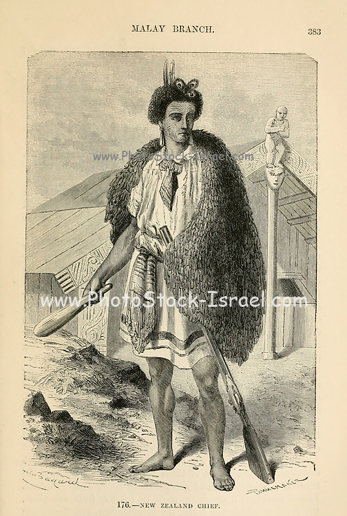 New Zealand Chief [Maori] with club engraving on wood From The human race by Figuier, Louis, (1819-1894) Publication in 1872 Publisher: New York, Appleton