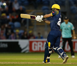 Glamorgan's Andrew Salter hits a six<br /> <br /> Photographer Simon King/Replay Images<br /> <br /> Vitality Blast T20 - Round 14 - Glamorgan v Surrey - Friday 17th August 2018 - Sophia Gardens - Cardiff<br /> <br /> World Copyright © Replay Images . All rights reserved. info@replayimages.co.uk - http://replayimages.co.uk