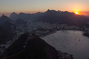 View of Botafogo at sunset from Sugarloaf mountain, in Rio de Janeiro, Brazil