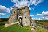 Gate towers of the Medieval Norman Kidwelly Castle, Kidwelly, Carmarthenshire, Wales. .<br /> <br /> Visit our WALES HISTORIC PLACES PHOTO COLLECTIONS for more photos to browse or download or buy as prints https://funkystock.photoshelter.com/gallery-collection/Images-of-Wales-Welsh-Historic-Places-Pictures-Photos/C0000UEicBhu1tQM<br /> .<br /> Visit our MEDIEVAL PHOTO COLLECTIONS for more   photos  to download or buy as prints https://funkystock.photoshelter.com/gallery-collection/Medieval-Middle-Ages-Historic-Places-Arcaeological-Sites-Pictures-Images-of/C0000B5ZA54_WD0s