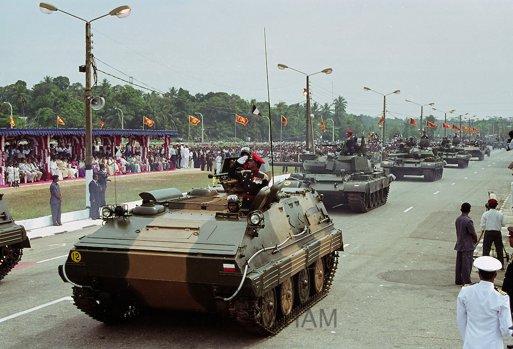 Military parade of army commanders and tanks in Colombo, Sri Lanka