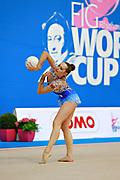 Halkina Katsiaryna during final at ball in Pesaro World Cup 12 April 2015. Katsiaryna is a Belarusian rhythmic gymnastics athlete born February 25, 1997 in Minks, Belarus.