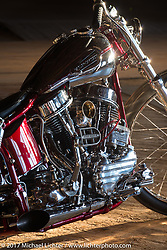 Elliot Grosshans' Central City, NE custom 1961 Harley-Davidson Panhead chopper during setup day for the Mama Tried Bike Show. Milwaukee, WI, USA. Friday, February 17, 2017. Photography ©2017 Michael Lichter.