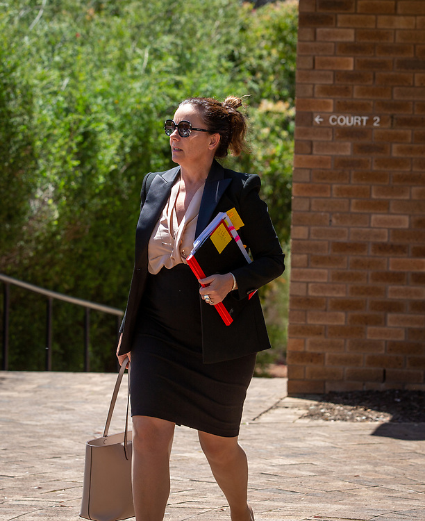 Julie Condon QC leaving Armadale District Court today during lunch break for Ben Cousins trial, Wednesday 28 October 2020, pic Tony McDonough