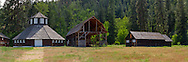 Historic farm buldings remain from the Fintry Farm in Fintry Provincial Park in British Columbia, Canada