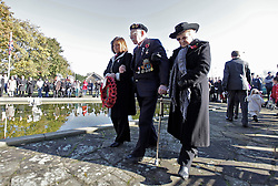 © Licensed to London News Pictures. 15/02/2012. Northolt, London, U.K..Walter Hart (CENTRE), ex-serviceman at The remembrance sunday service at the Polish War memorial in Northolt, next to the Northolt RAF base, today (11/11/2012), erected after the second world war to commemorate the service of Polish Airmen during the war. Walter was in the medical corps at dunkirk and during D-DAY..Photo credit : Rich Bowen/LNP