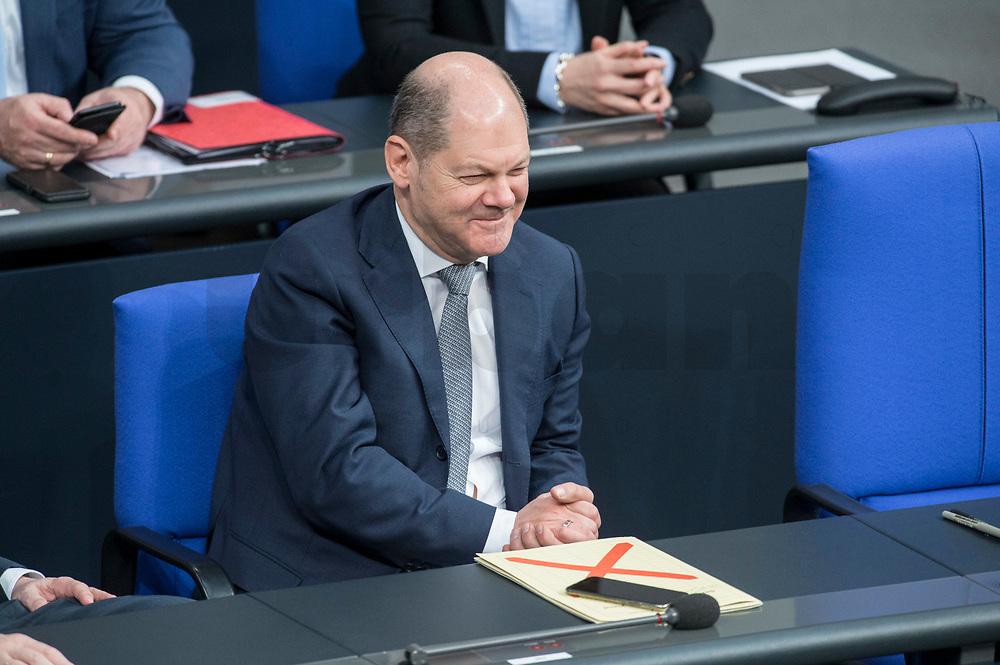 21 MAR 2019, BERLIN/GERMANY:<br /> Olaf Scholz, SPD, Budnesfinanzminister, Bundestagsdebatte zur Regierungserklaerung der Bundeskanzlerin zum Europaeischen Rat, Plenum, Deutscher Bundestag<br /> IMAGE: 20190321-01-030