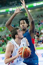 Mickael Gelabale #15 of France blocking Serbian players during basketball match between National teams of France and Serbia in 2nd Round at Day 12 of Eurobasket 2013 on September 14, 2013 in SRC Stozice, Ljubljana, Slovenia. (Photo By Urban Urbanc / Sportida)