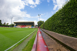The hedge at Brechin City's home ground Glebe Park. Brechin City 0 v 4 Inverness Caledonian Thistle, Scottish Championship game played 26/8/2017.