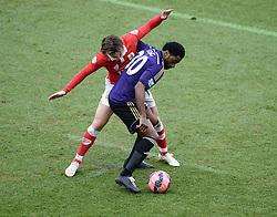 West Ham's Alexandre Song shields the ball from Bristol City's Luke Freeman - Photo mandatory by-line: Alex James/JMP - Mobile: 07966 386802 - 25/01/2015 - SPORT - Football - Bristol - Ashton Gate - Bristol City v West Ham United - FA Cup Fourth Round