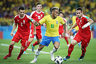Neymar of Brazil and Antonio Rukavina, Aleksandar Prijovic of Serbia during the 2018 FIFA World Cup Russia, Group E football match between Erbia and Brazil on June 27, 2018 at Spartak Stadium in Moscow, Russia - Photo Thiago Bernardes / FramePhoto / ProSportsImages / DPPI
