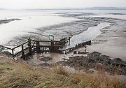 Drainage sluice channel on the River Deben at low tide, Sutton, Suffolk, England