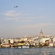 The Galata Tower and district of Beyoglu as seen from the waterfront district of Eminonu (know redistricted as Fatih.