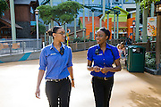 Tiffany Whitehead,(at right), a student and part-time ride supervisor at the Mall of America amusement park, goes on a routine check of the mall with a colleague in Bloomington, Minnesota. (Featured in the book What I Eat: Around the World in 80 Diets.) The Mall of America is the largest among some 50,000 shopping malls in the United States. In addition to a huge amusement park, it houses over 500 stores, 26 fast-food outlets, 37 specialty food stores, and 19 sit-down restaurants, and employs more than 11,000 year-round employees. In excess of 40 million people visit the mall annually, and more than half a billion have visited since it opened in 1992. Tiffany's job involves a lot of walking. Her main beat is the amusement park area, where she responds to radio calls regarding stalled rides and lost children and answers visitors' questions.