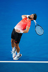 January 19, 2019 - Melbourne, VIC, U.S. - MELBOURNE, VIC - JANUARY 18: NIKOLOZ BASILASHVILI (GEO) during day five match of the 2019 Australian Open on January 18, 2019 at Melbourne Park Tennis Centre Melbourne, Australia (Photo by Chaz Niell/Icon Sportswire) (Credit Image: © Chaz Niell/Icon SMI via ZUMA Press)