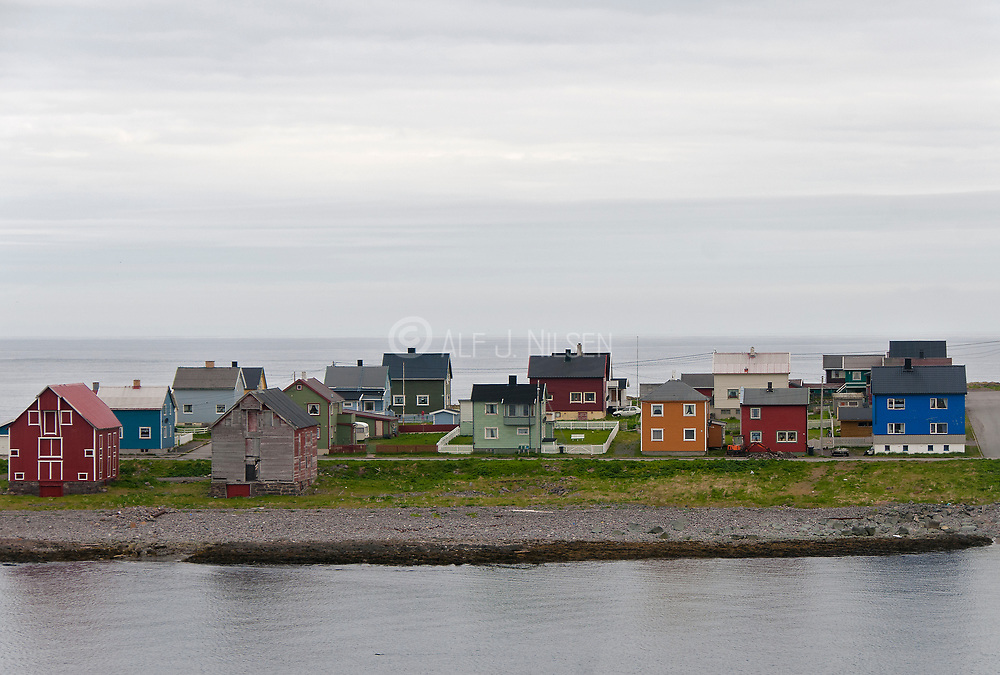 Colourful and traditional ghouses in the city of Vardö in Finnmark county, northern Norway.