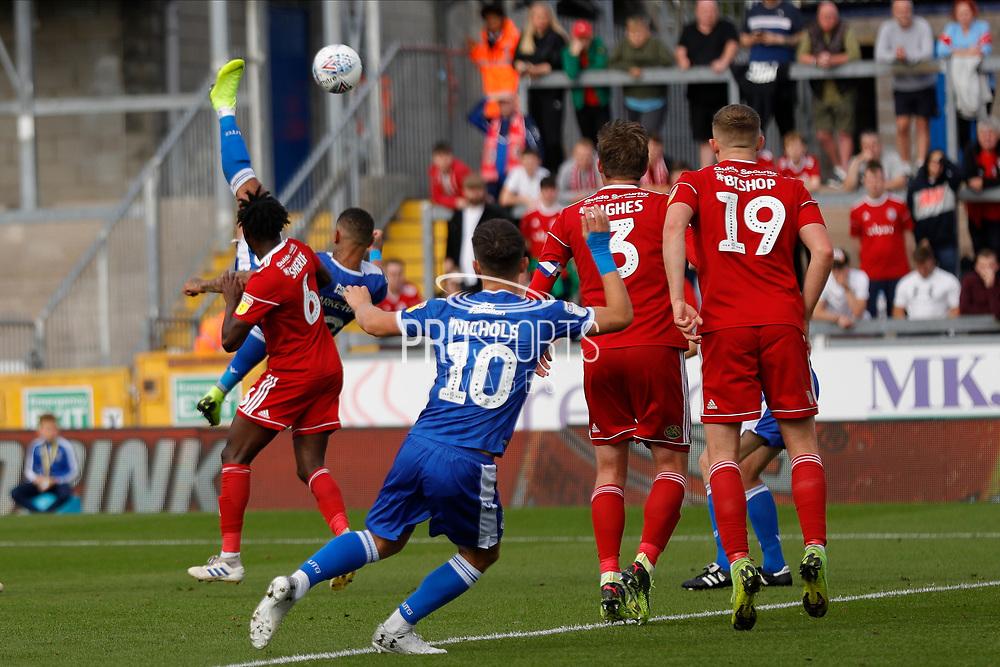 Bristol Rovers forward Jonson Clarke-Harris scores a goal during the EFL Sky Bet League 1 match between Bristol Rovers and Accrington Stanley at the Memorial Stadium, Bristol, England on 7 September 2019.
