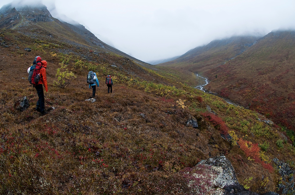 Cortney Kitchen, Tobey Carman, Kate Rutherford, Approaching the Arrigetch Peaks, AK