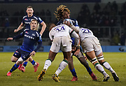 London Irish wing Ben Loader and London Irish's Blair Cowan combine to tackle Sale Sharks wing Marland Yarde during a Gallagher Premiership Rugby Union match won by Sharks 39-0, Friday, Mar. 6, 2020, in Eccles, United Kingdom. (Steve Flynn/Image of Sport)