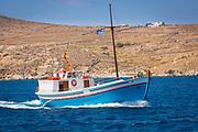 Greek boat in the Aegean Sea near the island of Delos