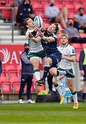 Sale Sharks scrum-half Faf De Klerk and London Irish Fly-half Paddy Jackson compete for a high ball during a Gallagher Premiership Round 14 Rugby Union match, Sunday, Mar 21, 2021, in Eccles, United Kingdom. (Steve Flynn/Image of Sport)