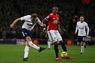 Harry Kane of Tottenham Hotspur (L) takes a shot at goal. Premier league match, Tottenham Hotspur v Manchester Utd at Wembley Stadium in London on Wednesday 31st January 2018.<br /> pic by Steffan Bowen, Andrew Orchard sports photography.