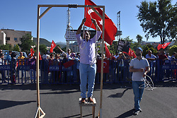 July 13, 2017 - MuÄŸLa, Türkiye - People set up gallows outsidr of the Mugla city court for the defendants of Military Coup attempt at Marmaris city of Mugla. Soldiers who attacked President Recep Tayyip ErdoÄŸan's hotel in the Aegean resort of Marmaris during the attempted military coup on July 15 were captured during in operations are on court today. (Credit Image: © Depo Photos via ZUMA Wire)