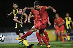 September 16, 2017 - Tubize, BELGIUM - Tubize's Wook Ki Hwang scores a goal during a soccer game between Tubize and Lierse SK, in Tubize, Saturday 16 September 2017, on day six of the division 1B Proximus League competition of the Belgian championship. BELGA PHOTO JOHN THYS (Credit Image: © John Thys/Belga via ZUMA Press)