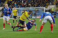 Carlisle United striker Charlie Wyke fouls Oxford United striker Chris Maguire during the Sky Bet League 2 match between Oxford United and Carlisle United at the Kassam Stadium, Oxford, England on 12 December 2015. Photo by Alan Franklin.