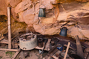 Bass's camp from the early 1900s features old rusting kitchenware. From Parkins Inscription Camp, we hiked North Bass Trail to Shinumo Creek. A dip in the rushing waters of Shinumo Creek refreshed us on an unusually hot April day. Parkins Inscription Camp is at Colorado River Mile 108.6 (measured downstream from Lees Ferry). Day 7 of 16 days rafting 226 miles down the Colorado River in Grand Canyon National Park, Arizona, USA.