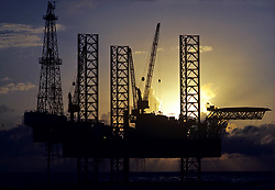 Stock photo of lattice legs of a jack up drilling rig