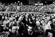Shareholders attending the annual general meeting of UBS, Switzerland's biggest bank, in a concert stadium in Basel. There here was a revolt over the conduct of the banks's previous administration, which they regard as responsible for not only record losses for a Swiss company, following exposure to the US subprime market, but was also a major investigation for organised tax evasion by the IRS, which has called into question the whole concept of Switzerland's hallowed banking secrecy.