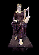 2nd century Roman sculpture of Apollo seated with lyre, sculpted in porphyry, inv no 6281,  The Farnese collection, Naples Archiological Musuem, Italy ..<br /> <br /> If you prefer to buy from our ALAMY STOCK LIBRARY page at https://www.alamy.com/portfolio/paul-williams-funkystock/greco-roman-sculptures.html . Type -    Naples    - into LOWER SEARCH WITHIN GALLERY box - Refine search by adding a subject, place, background colour, etc.<br /> <br /> Visit our ROMAN WORLD PHOTO COLLECTIONS for more photos to download or buy as wall art prints https://funkystock.photoshelter.com/gallery-collection/The-Romans-Art-Artefacts-Antiquities-Historic-Sites-Pictures-Images/C0000r2uLJJo9_s0