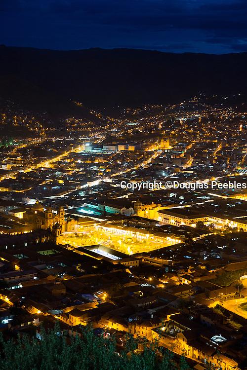 Plaza de Armas,Twilight, view from Saksaywayman,  Cusco, Urubamba Province, Peru