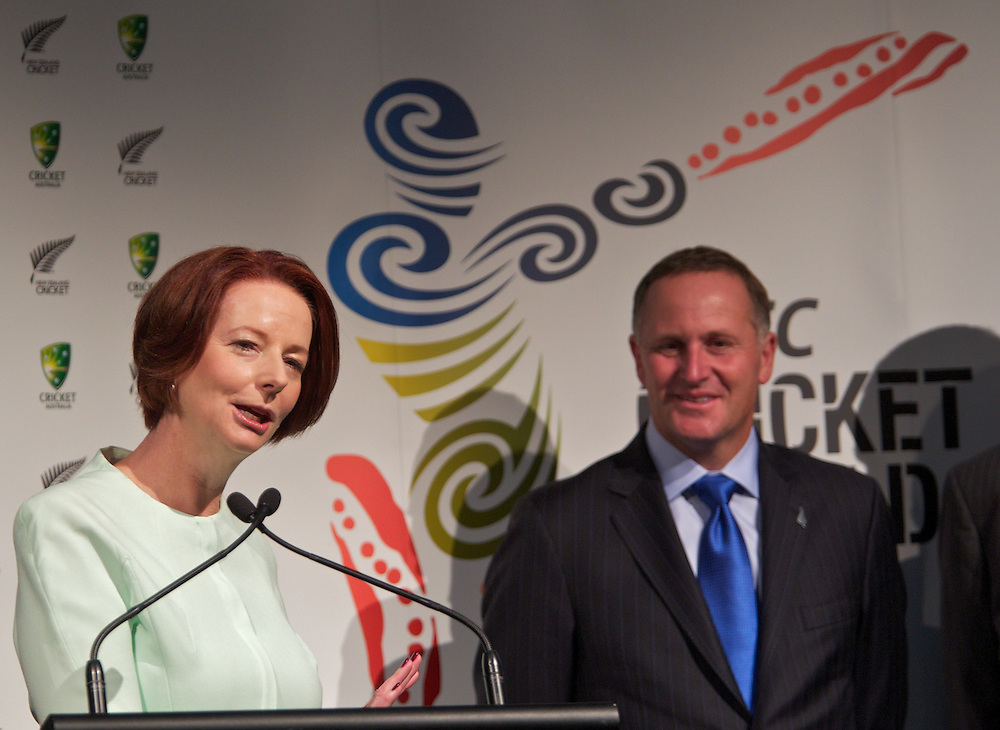 Announcement re 2015 Cricket World Cup with Australian Prime Minister Julia Gillard and New Zealand Prime Minister John Key. Pic By Craig Sillitoe CSZ/The Sunday Age.28/01/2012 melbourne photographers, commercial photographers, industrial photographers, corporate photographer, architectural photographers, This photograph can be used for non commercial uses with attribution. Credit: Craig Sillitoe Photography / http://www.csillitoe.com<br /> <br /> It is protected under the Creative Commons Attribution-NonCommercial-ShareAlike 4.0 International License. To view a copy of this license, visit http://creativecommons.org/licenses/by-nc-sa/4.0/.