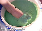 The look & feel of green cake batter slime on this red headed model's feet is so nice.