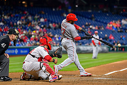 April 11, 2018 - Philadelphia, PA, U.S. - PHILADELPHIA, PA - APRIL 11: Cincinnati Reds right fielder Phillip Ervin (27) makes contact during the MLB game between the Cincinnati Reds and the Philadelphia Phillies on April 11, 2018 at Citizens Bank Park in Philadelphia PA. (Photo by Gavin Baker/Icon Sportswire) (Credit Image: © Gavin Baker/Icon SMI via ZUMA Press)