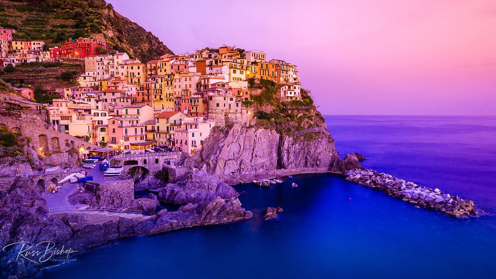 Evening light on Manarola, Cinque Terre, Liguria, Italy