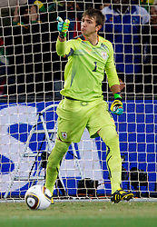 Goalkeeper of Uruguay Fernando Muslera celebrates during the penalty shots at  2010 FIFA World Cup South Africa Quarter Finals football match between Uruguay and Ghana on July 02, 2010 at Soccer City Stadium in Sowetto, suburb of Johannesburg. Uruguay defeated Ghana after penalty shots. (Photo by Vid Ponikvar / Sportida)