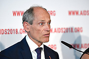 AIDS2018 Persconferentie Elton John Aids Foundation.<br /> <br /> AIDS2018 Press Conference Elton John Aids Foundation.<br /> <br /> Op de foto: Lambert Grijns, Ambassador for Sexual and Reproductive Health and Rights & HIV/AIDS, Government of the Netherlands