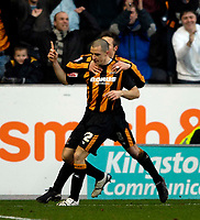 Photo: Jed Wee.<br />Hull City v Cardiff City. Coca Cola Championship. 16/12/2006.<br /><br />Hull's Dean Marney celebrates after scoring the second goal.