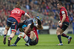 March 30, 2019 - Edinburgh, Scotland, United Kingdom - Viliame Mata of Edinburgh tackled by Arno Botha and Tadgh Beirne of Munster during the Heineken Champions Cup Quarter Final match between Edinburgh Rugby and Munster Rugby at Murrayfield Stadium in Edinburgh, Scotland, United Kingdom on March 30, 2019  (Credit Image: © Andrew Surma/NurPhoto via ZUMA Press)