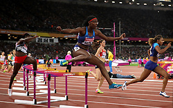 USA's Shamier Little in action in the Women's 400m Hurdles semi-finals during day five of the 2017 IAAF World Championships at the London Stadium.