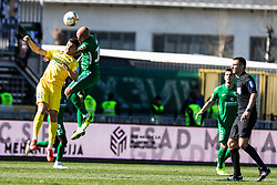 Brkic Goran of NK Olimpija Ljubljana vs Gnezda Cerin Adam of NK Domzale during  football match between NK Olimpija Ljubljana and NK Domžale in 24rd Round of Prva liga Telekom Slovenije 2018/19, on March 30, 2019 in Sports park Domzale, Slovenia Photo by Matic Ritonja / Sportida