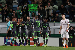 December 13, 2018 - Lisbon, Portugal - Sporting's midfielder Miguel Luis from Portugal celebrates with teammates after scoring during the UEFA Europa League Group E football match Sporting CP vs FC Vorskla Poltava at Alvalade stadium in Lisbon, Portugal on December 13, 2018 (Credit Image: © Pedro Fiuza/ZUMA Wire)